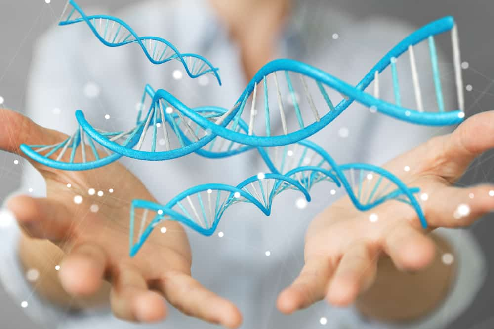 hands holding graphic stem DNA and stem cell therapy for orthobiologics